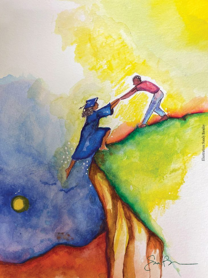 Illustration by Sandy Bandes of a man pulling a woman, wearing cap and gown, up a hill