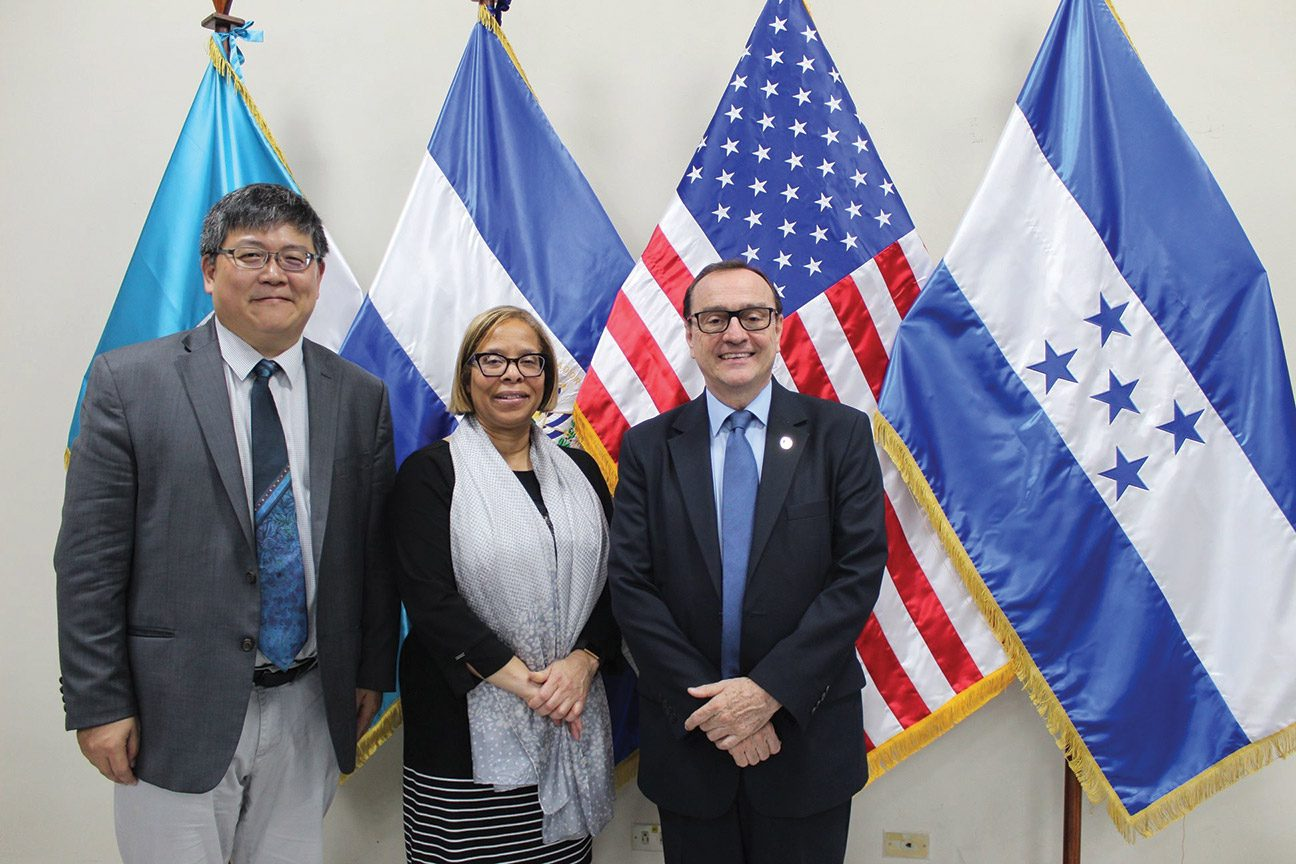 (left to right) Hung-En Sung, Professor of Criminal Justice at John Jay College and Director of the Academy for Security Analysis; Karol V. Mason, President of John Jay College; Father Andreu Oliva, José Simeón Cañas Central American University
