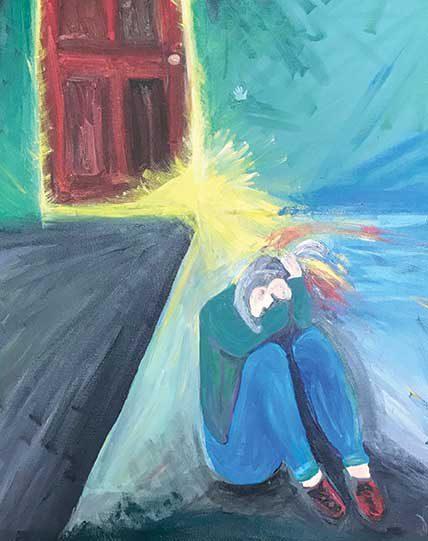illustration of sad girl